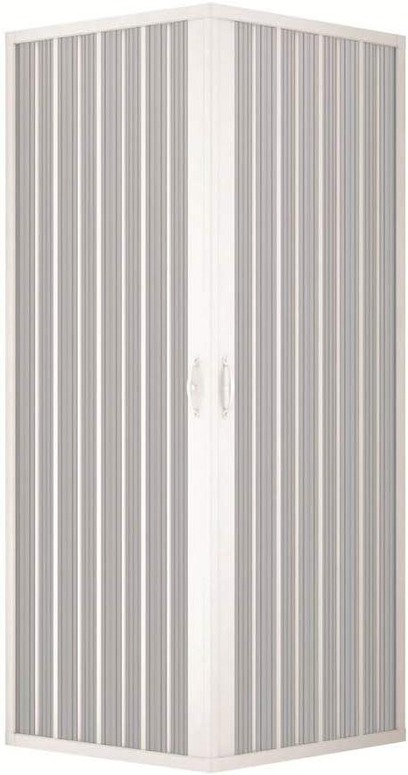 Mampara ducha en PVC con apertura angular con dos puertas plegables - 2 lados - 70 x 70 cm, H 185 cm - Blanco