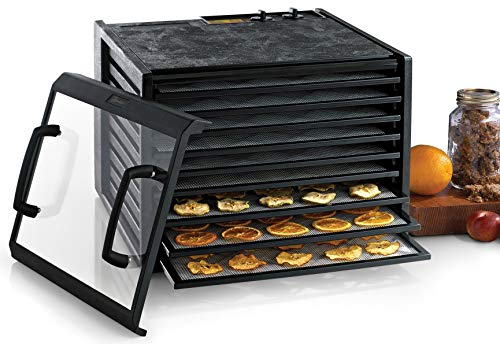 Excalibur 3926TCDB 9-Tray Electric Food Dehydrator with Clear Door Adjustable Temperature Settings and 26-Hour Timer Made in USA, 9-Tray, Black (Renewed) ()