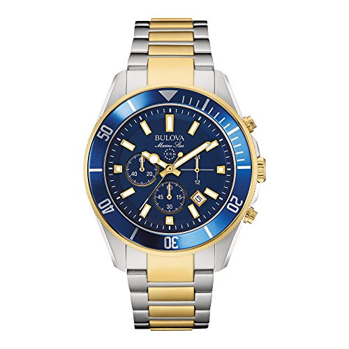 Bulova Men's 98B230 Marine Star Chronograph Japanese Quartz Two Tone (Marine Star Mens Quartz Watch)