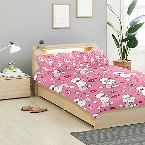 KVMV Pattern Dog Poodle Gray Pink Duvet Cover Set Design Bedding Decoration Queen/Full 3 PC Sets 1 Duvets Covers with 2 Pillowcase Microfiber Bedding Set Bedroom Decor Accessories -