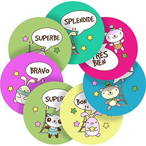 Lovely Animals French Lessons Reward Sticker Labels, 70 Stickers @ 1
