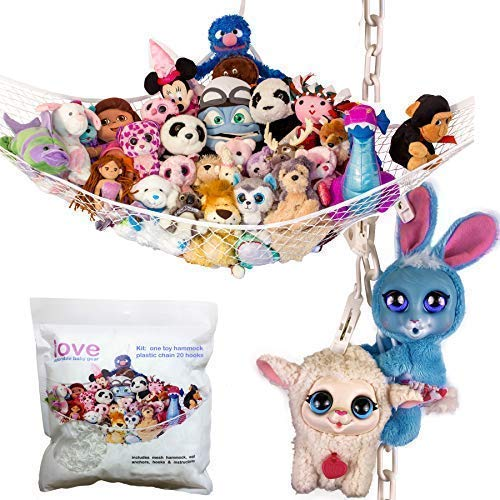 Lilly's Love Stuffed Animals Storage Chain and Hammock Kit Includes Chain & Hammock, Plastic Chain 60 inch + 20 Strong Clips & - Tiger Nursery Lily