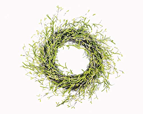 Huashen 24 Inch Spring&Summer Lavender Door Wreath with Pip Berry and Wild Grass on Twig Base Natural Round Wreath for Front Door - Berry Wreath Lavender