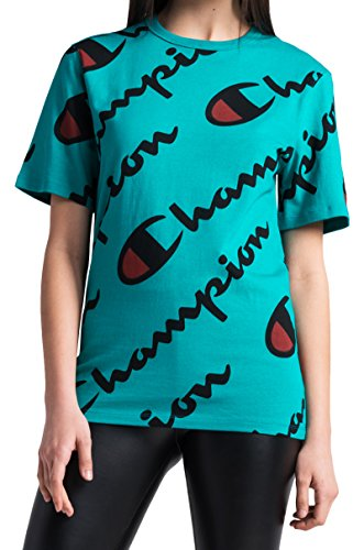 Champion LIFE Men's Heritage Tee-All Over Script, Vivid Teal/Champion Explode Script, M from Champion LIFE