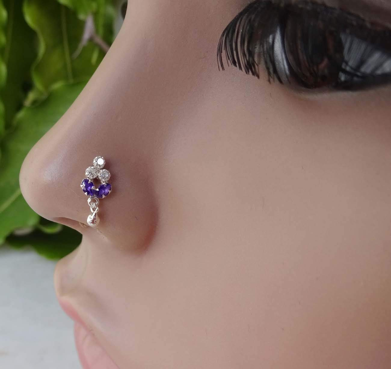 Mother Day,Sapphire Nose Stud,Sterling Silver Nose Stud,Amethyst Nose Stud,Silver Nose Piercing,Crock Screw Nose Stud,Wedding Nose Jewelry,Fresh Trends Silver Nose Stud,Nose Hoop,Nose Ring TEJ172