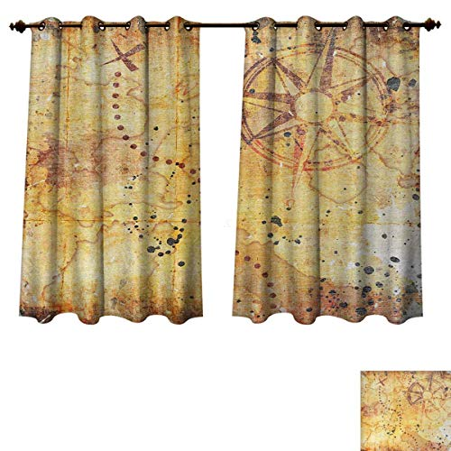 (Anzhouqux Island Map Blackout Thermal Backed Curtains for Living Room Antique Treasure Map Grunge Rusty Style Parchment Print History Theme Boho Design Window Curtain Fabric Beige W55 x L63 inch)