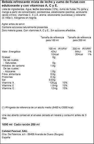 Bifrutas Zero Tropical zumo Leche - 1000 ml: Amazon.es: Alimentación y bebidas