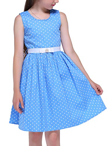 Girls Sleeveless Vintage Print Swing Party Dresses,f1,60''/12-13 Years(Size