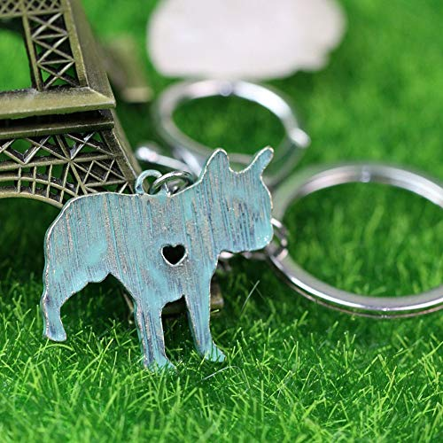 Key Chains - French Bulldog Keychain Animal Bull Dog Metal Holder Keyring Faux Patina Accent Pet Memorial A030 3028mm - by NTNH12-1 PCs (Justin Bieber Dog Tag Keychain)