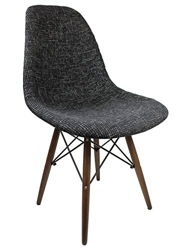 Ariel DSW Fabric Upholstered Mid-Century Eames Style Accent Chair with Dark Walnut Wood Eiffel Legs, Black - Designer Style Fabric Upholstered Chair