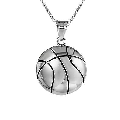 LAMUCH Collar pendiente del acero inoxidable baloncesto del tono ...