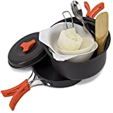 10-piece Lightweight Camping Cookware Mess Kit Set with Storage Bag by Grizzly Peak