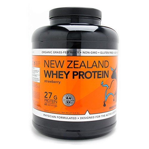 Cheap Dioxyme New Zealand Grass Fed Whey Protein – Native Cold Processed Undenatured 100% Premium Whey Isolate and Concentrate – GMO-Free + rBGH Free + Soy Free + Gluten Free – 5LB Tub (Strawberry)