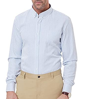 PAUL JONES Men's Casual Check Pattern Long Sleeve Button-Down Collar Shirts