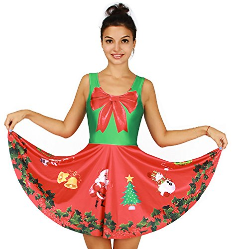 Women's X-mas Costume Big Bowknot Print Sleeveless Tank Dresses Skater Skirts (Sweater Dress Christmas Ugly Bow)