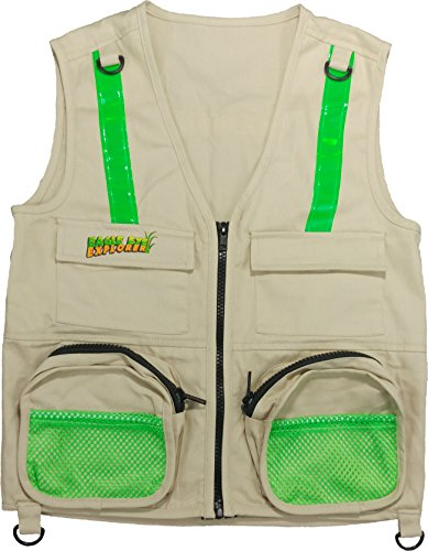 Travel Bug Halloween Costume (Eagle Eye Explorer Cargo Vest for kids with Reflective Safety Straps. 100% cotton. Size: M/L)
