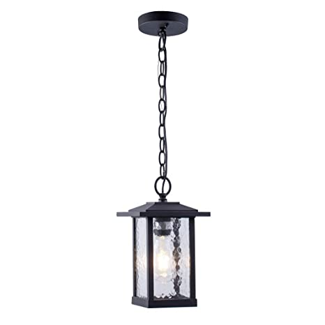 sports shoes c934a e12ed Outdoor Pendant Lighting, 1-Light Outdoor Hanging Lantern, Farmhouse Style  Exterior Porch Lights in Matte Black Finish with Water Glass, 60W