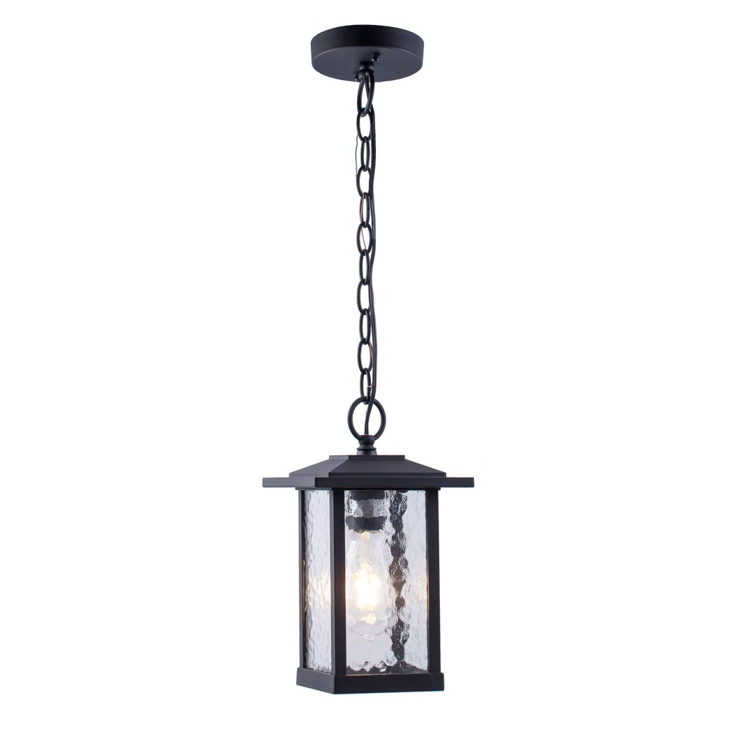 Outdoor Pendant Lighting, 1-Light Outdoor Hanging Lantern, Farmhouse Style Exterior Porch Lights in Matte Black Finish with Water Glass, 60W