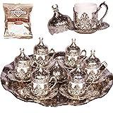 Alisveristime 27 Pc Ottoman Turkish Greek Arabic Coffee Espresso Serving Cup Saucer (Hilal)