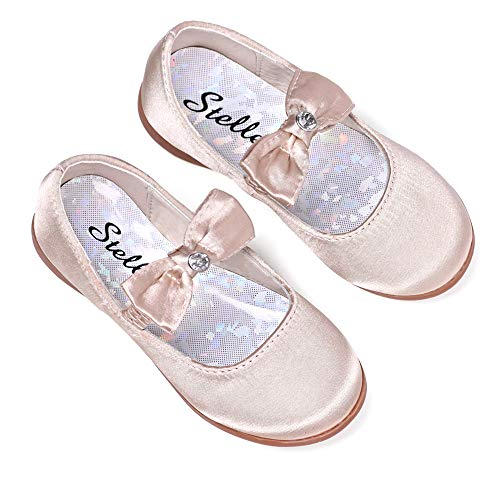 STELLE Girls Mary Jane Shoes Slip-on Party Dress Flat for Kids Toddler (8MT, Gold(Satin))
