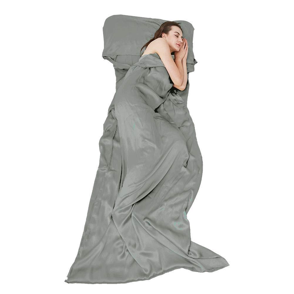 THXSILK Naturally 100% Mulberry Silk Travel Sheet Camping Sheet Sleeping Bag Liner - Soft & Lightweight Sleep Bag Outdoor Picnic, Hotel, Adventurous Travelers, Grey, 41'' x 86'' by THXSILK