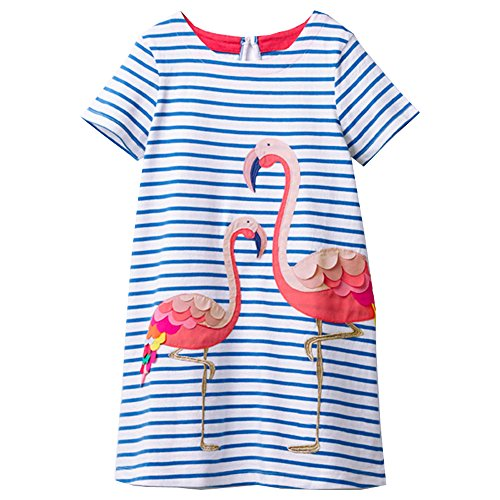 VIKITA Girls Cotton Butterfly Short Sleeve Casual Dress SMK006 4-5 Years for $<!--$12.99-->