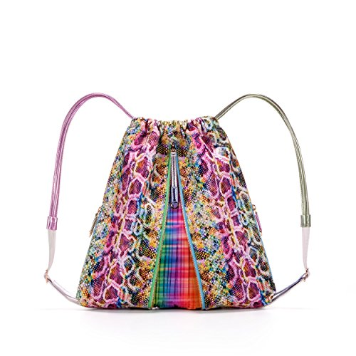 MISHI Designer Vegan Handbag. Drawstring Straps. Multicolor