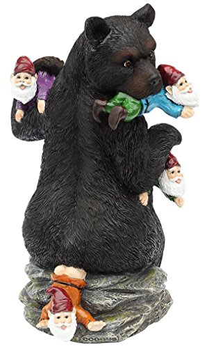 CCOQUS Garden Gnome Massacre – 10″ Bear Eating Gnomes Outdoor Statues, Funny Garden Decor Lawn Patio Art Sculpture