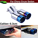 OEM 1pcs Blue Color Stainless Steel Universal Stainless Steel Curved Exhaust Muffler Tail Pipe Tip Tailpipe Extension Pipes Trim Custom Fit For Chevy-Cruze-Sedan 2008 2009 2010 2011 2012 2013 2014 2015 2016 2017