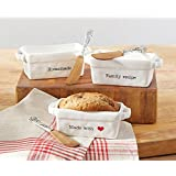 """Mud Pie 4801009H """"Homemade"""" Mini Loaf Server with Spreader, White"""