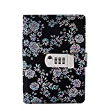 Yakri A6 Spring Binder Notebook Password with Lock Diary Book Creative Password Diary Handbook Notepad Locking Journal Diary TPN105 (Black)