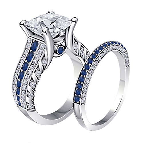 Women's Jewelry 14K Gold Plated Alloy Plated 2.00CT Dazzling Princess Cut Cubic Zirconia & Created Blue Sapphire Round Wedding Band & Engagement Ring Bridal Set Free Sizes 4-11 ()