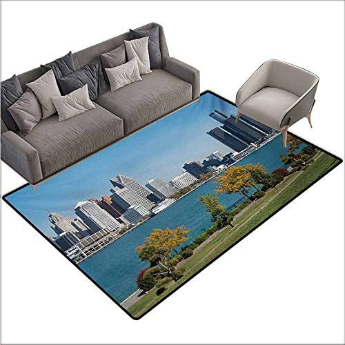 (Girl Bedroom Rug Detroit Industrial City Center Shoreline River Scenic Panoramic View in a Sunny Day Non-Slip Door mat pad Machine can be Washed W78 xL94 Blue Green Silver)