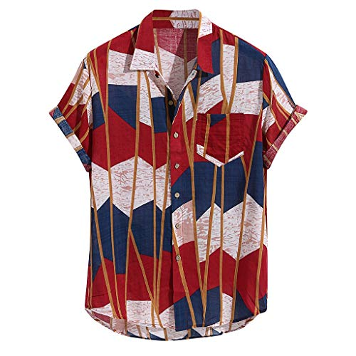 Mens Buttons Shirts Summer Vintage Striped Fly Breathable Short Sleeve Casual Henley Tops (M, Red ()
