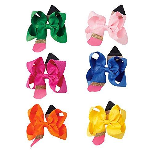 Sweet Children Girl Hair Clip Handmade Solid Ribbon Pencil Hair Bow For Students Cute Hair Accessories (6 Pcs Hair Clip)