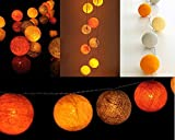 Design by UnseenThailand Handmade Cotton Ball String Lights Decoration (3metre 20 Globes/pack) Decor Wedding Bedroom Garden Spa and Holiday Lighting. (Orange - White - Yellow)