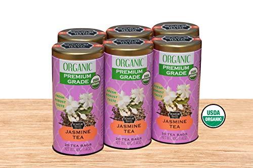 Organic Jasmine Tea, 20 Bag Canister, Pack of 6