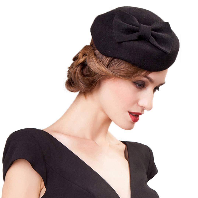 dfe5dbf6 YALOEE Black Fascinator Wool Pillbox Hats for Women Felt Bowknot Wedding  Cocktail Derby Church Hat at Amazon Women's Clothing store:
