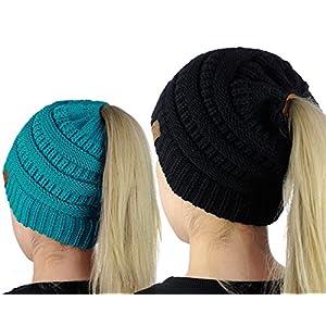 83211bd5856 C.C BeanieTail Soft Stretch Cable Knit Messy High Bun Ponytail Beanie Hat