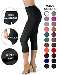 SATINA High Waisted Super Soft Capri Leggings - 20 Colors...
