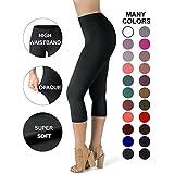 Satina High Waisted Super Soft Capri Leggings - 22 Colors - Reg & Plus Size