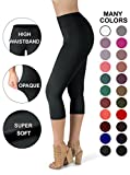 SATINA High Waisted Super Soft Capri Leggings - 20 Colors - Reg & Plus Size (Plus Size, Black)