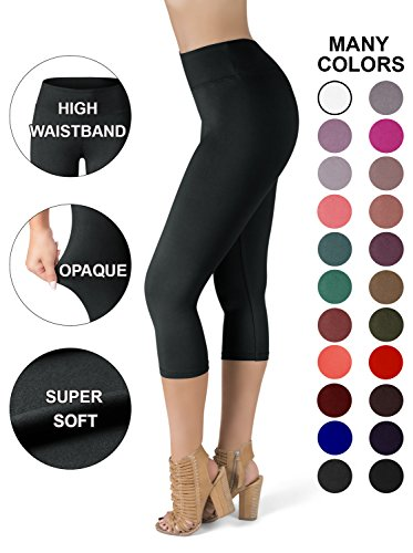 SATINA High Waisted Super Soft Capri Leggings - 20 Colors - Reg & Plus Size (One Size, Black) ()