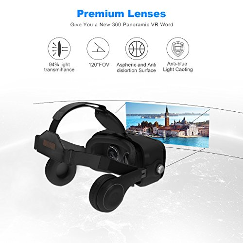3D VR Glasses, YESSHOW VR Goggles Virtual Reality Headset Box for 3D Movies and VR Games with Remote Control Compatible with iPhone X /8/8 Plus 7/7 Plus/6S/ 6 Samsung S8/S7 and Other 4.0''-6.0'' phones by YESSHOW (Image #1)