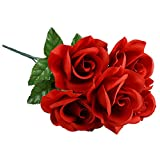 6pc Fake (Artificial) Flowers Set, Floral Garden 5-Stem Red Velvety Blooming Roses, 14 in