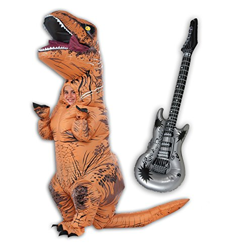 Inflatable Child T-Rex and Guitar Costume Bundle