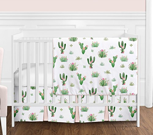 Pink and Green Boho Watercolor Cactus Floral Baby Girl Crib Bedding Set without Bumper by Sweet Jojo Designs  4 pieces