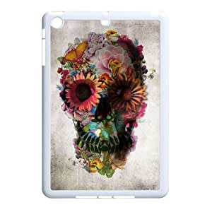 wugdiy New Fashion Cover Case for iPad Mini with custom Beautiful flower skulls