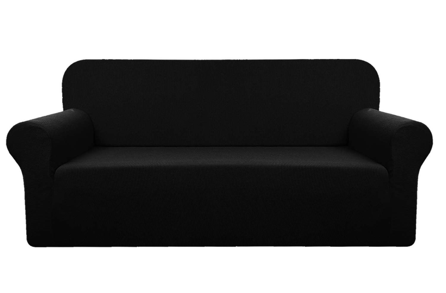 YUUHUM Stripes Loveseat Covers, Super Stretch Loveseat Slipcovers 2 Cushions Couch Covers Pet Dog Love Seat Sofa Covers Protectors (Loveseat, Black)