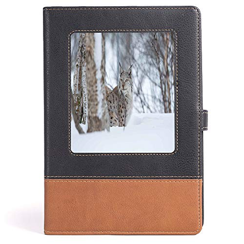 Classic Retro Hardcover Business Student Notebook - Animal - Composition Book/Notebook - European Lynx Snowy Cold Forest Norway Nordic Country Wildlife Apex Predator - 100 Ruled Sheets - A5/6.04x8.58